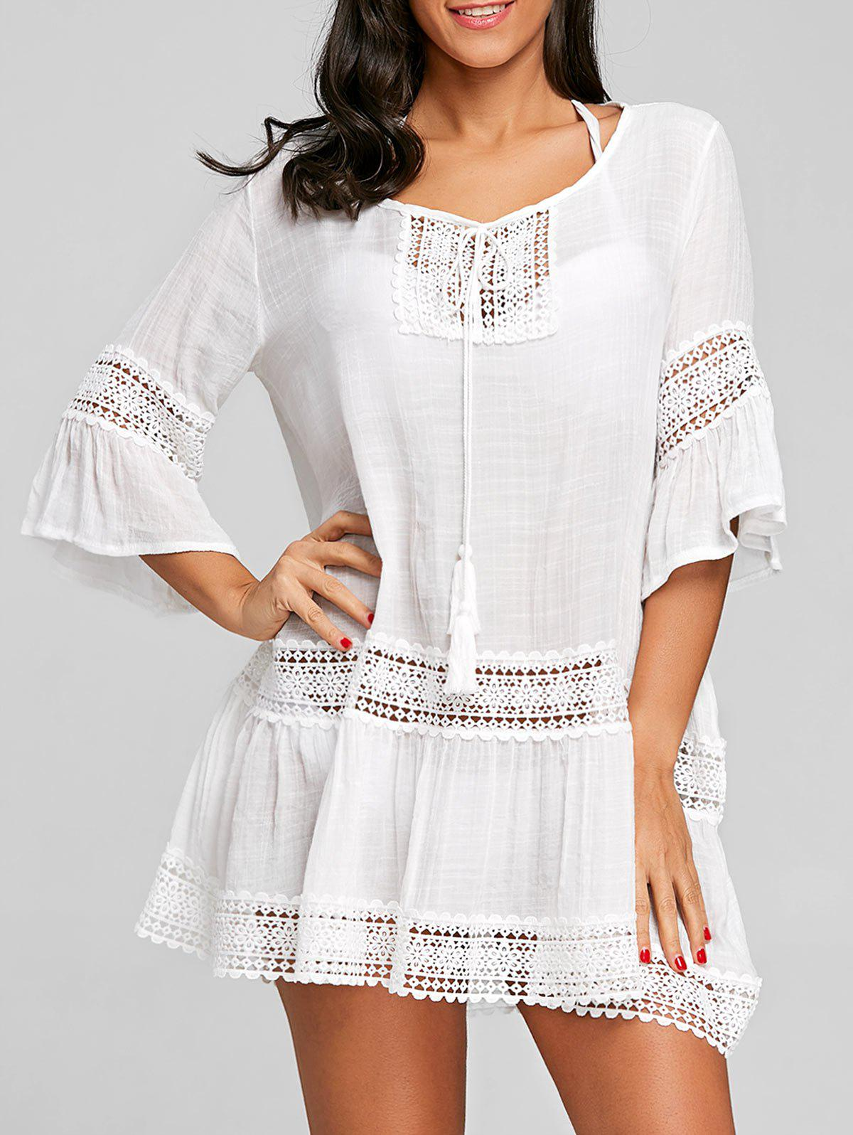 Cheap Crochet Trimmed Flare Sleeve Cover Up Dress