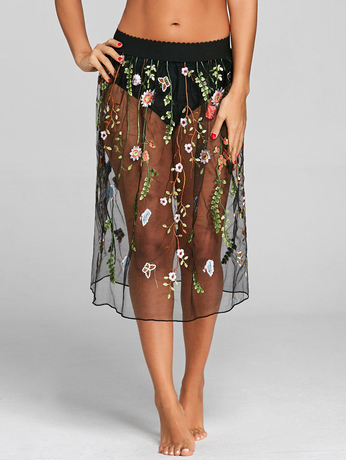 Outfits Mesh Floral Embroidery Cover Up Skirt