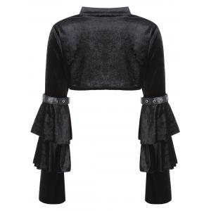 Velvet Bell Sleeve Costume Crop Top -