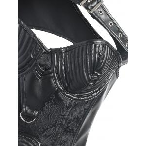 Faux Leather Rivet Brocade Steampunk Corset -
