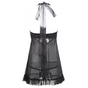 Ruffles Split Front Lingerie Babydoll with Pad -