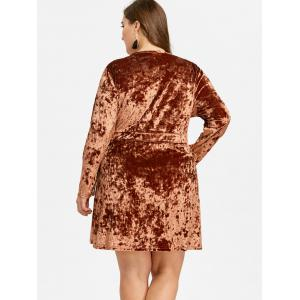 Plus Size Long Sleeve Velvet Mini Dress -