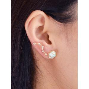 Heart Floral Hexagon Ball Tiny Earring Set -