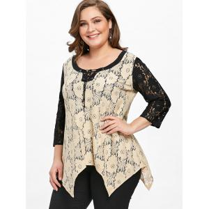 Plus Size Floral Crescent Hem Lace Blouse -