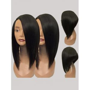 Short Side Parting Straight High Low Synthetic Wig -