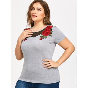 Plus Size Mesh Trim Embroidery T-shirt -