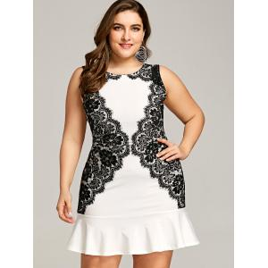 Eyelash Lace Panel Plus Size Mini Fishtail Dress -