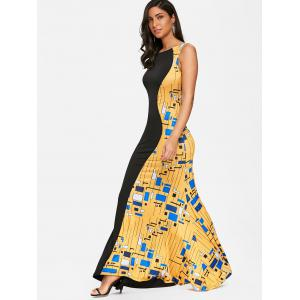Color Block Printed Long Evening Dress -