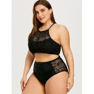 Openwork Plus Size High Neck Bikini Set -
