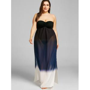 Plus Size Gradient Color High Split Strapless Dress -
