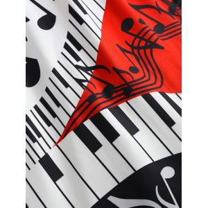Plus Size Piano Music Note Flare Dress -