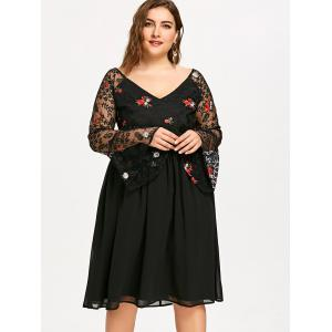 Embroidery Flare Sleeve Mesh Panel Plus Size Dress -