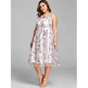 Plus Size Stereo Floral Sleeveless Swing Dress -