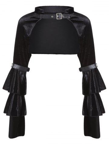 Discount Velvet Bell Sleeve Costume Crop Top