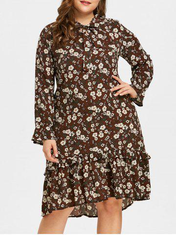 Fashion Plus Size Bowknot Ruffle Trim Printed Dress