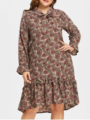 Hot Plus Size Bowknot Ruffle Trim Printed Dress