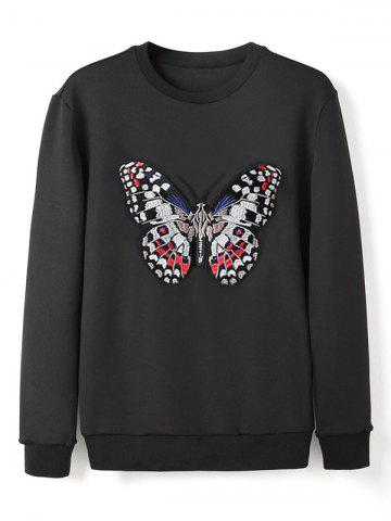 New Crew Neck Butterfly Embroidery Sweatshirt