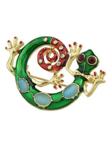 Chic Rhinestone Inlay Gekko Japonicus Alloy Brooch