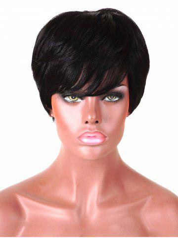 Best Short Inclined Bang Straight Human Hair Wig