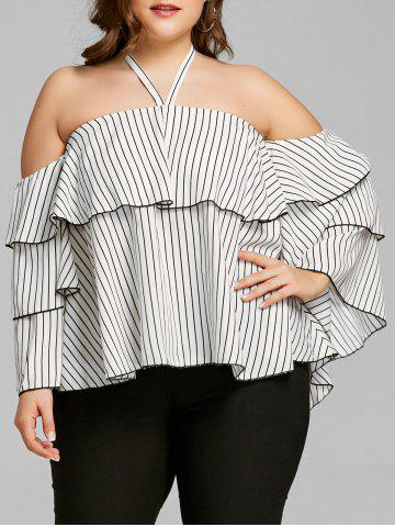 Unique Stripe Flounce Plus Size Bell Sleeve Blouse