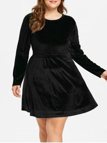 Discount Plus Size Long Sleeve Velvet Mini Dress