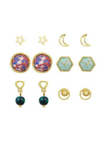Ensemble de boucles d'oreilles Star Moon Hexagon Ball Tiny