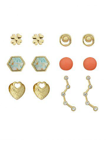 Hot Heart Floral Hexagon Ball Tiny Earring Set