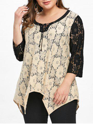 Sale Plus Size Floral Crescent Hem Lace Blouse