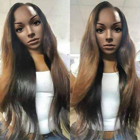 Trendy Long Side Parting Colormix Wavy Synthetic Wig