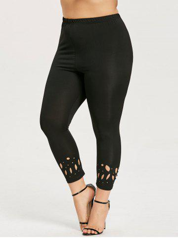 Affordable Plus Size Openwork Leggings