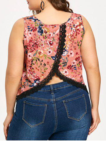 Trendy Plus Size Overlap Tiny Floral V Neck Tank Top