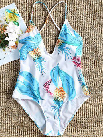 Outfits Plunge Pineapple Print Backless Swimsuit