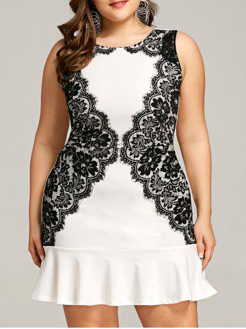 Sale Eyelash Lace Panel Plus Size Mini Fishtail Dress