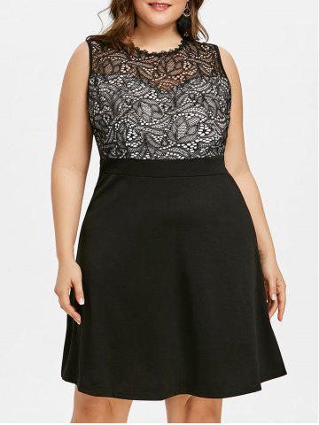 Dentelle Insert Plus Size Party Dress