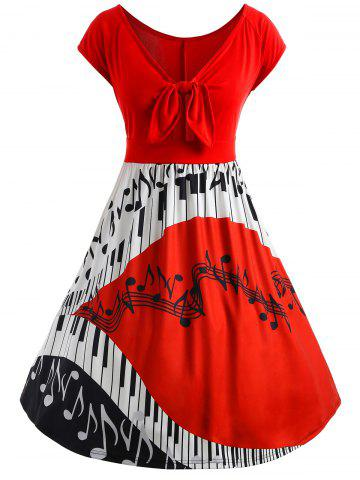 Hot Plus Size Piano Music Note Flare Dress