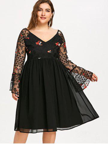 Embroidery Flare Sleeve Mesh Panel Plus Size Dress