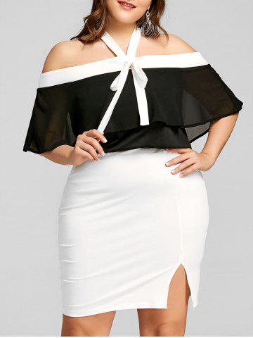 Hot Plus Size Two Tone Capelet Dress