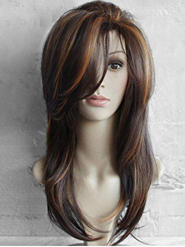Long Inclined Bang Highlighted Natural Straight Synthetic Wig