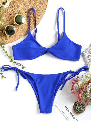 Twist Front String Bikini Set - ROYAL - L