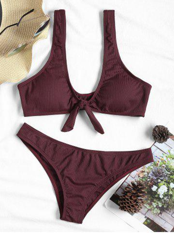 Bowknot Ribbed Bikini Swimsuit - WINE RED - XL