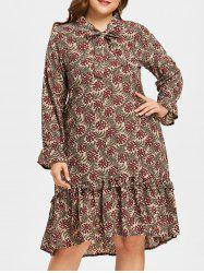 Plus Size Bowknot Ruffle Trim Printed Dress -