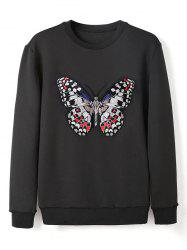 Crew Neck Butterfly Embroidery Sweatshirt -