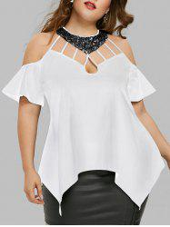 Plus Size Bell Sleeve Sequined Blouse -