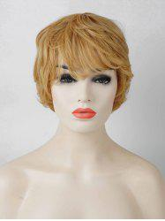 Short Oblique Bang Layered Slightly Curly Human Hair Wig -