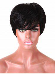 Short Inclined Bang Straight Human Hair Wig -