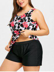 Boyshort Plus Size Floral Tankini Swimsuit -