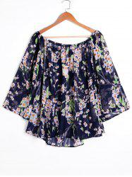 Print Off Shoulder Swing Chiffon Blouse -