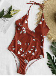 One Piece High Leg Floral Swimsuit -