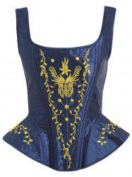 Embroidered Lace-up Zip Corset Vest -