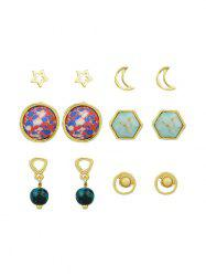 Ensemble de boucles d'oreilles Star Moon Hexagon Ball Tiny -